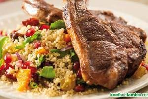 Grilled lamb chops with mint and fruity couscous