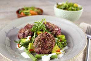 Beef and beetroot rissoles with bean and avocado salad